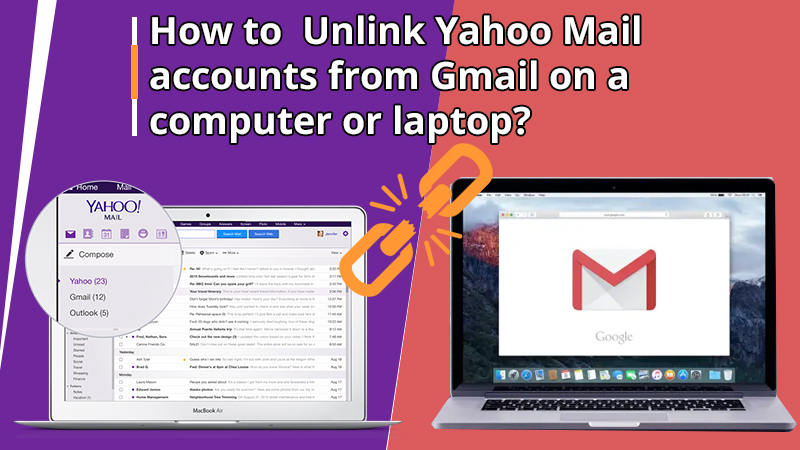 How to Unlink Yahoo Mail accounts from Gmail on a computer or laptop?