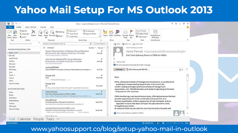 Yahoo Mail Setup For MS Outlook 2013