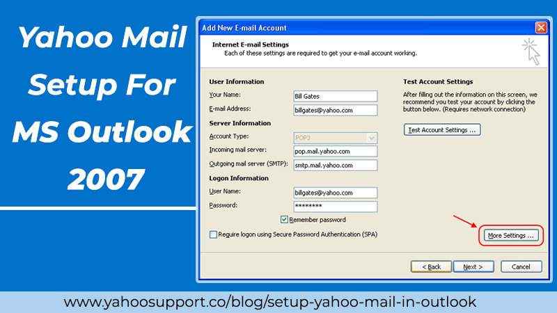 Yahoo Mail Setup For MS Outlook 2007